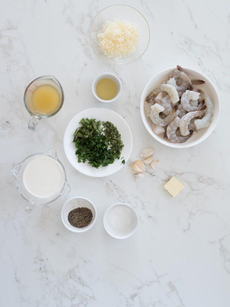 ingredients for creamy garlic shrimp with parmesan