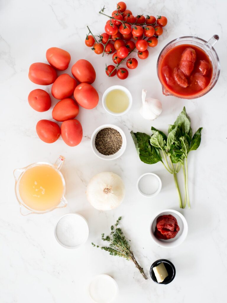 ingredients for creamy roasted tomato basil soup recipe