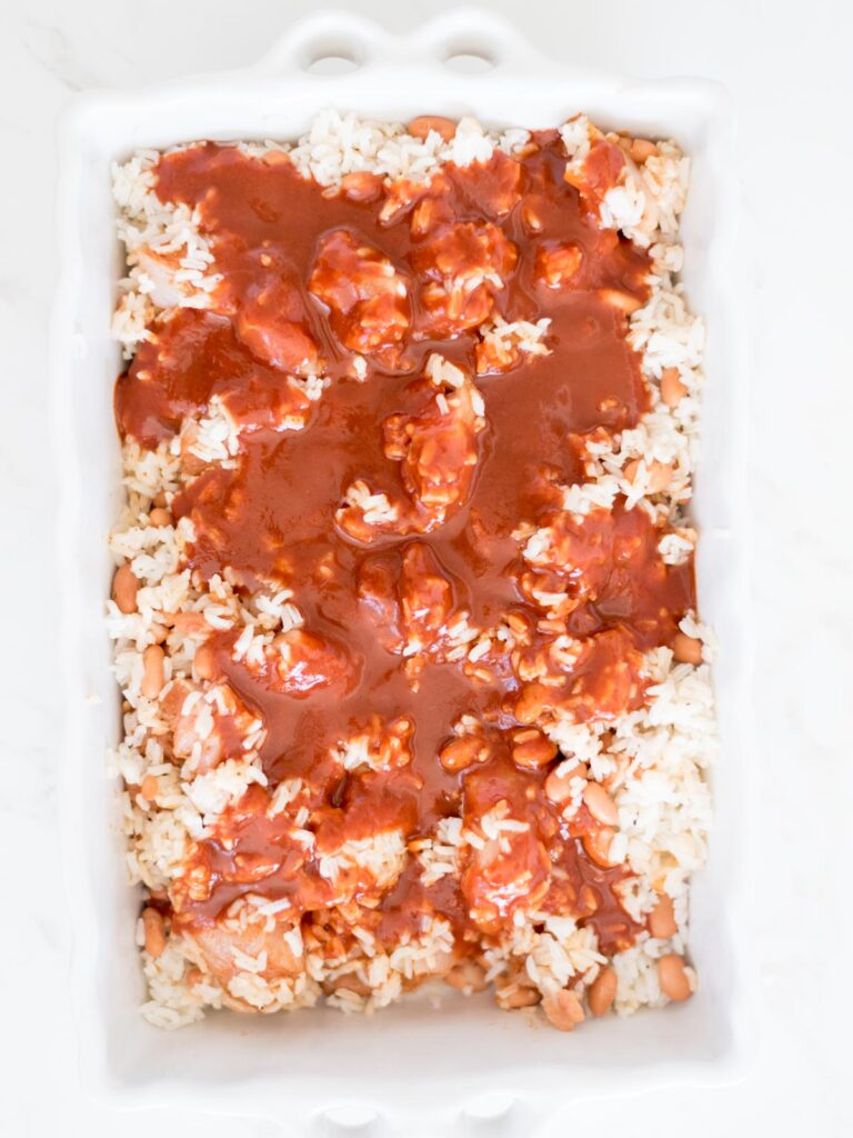 enchilada sauce poured over chicken rice and beans