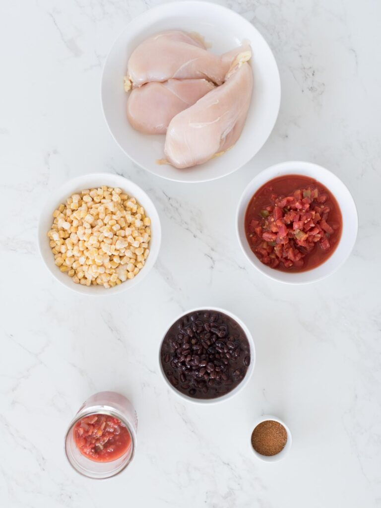 ingredients for slow cooker Mexican chicken in the crockpot