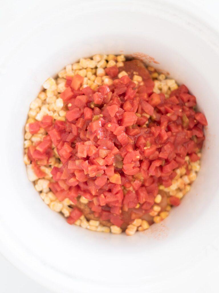 salsa added to the crockpot