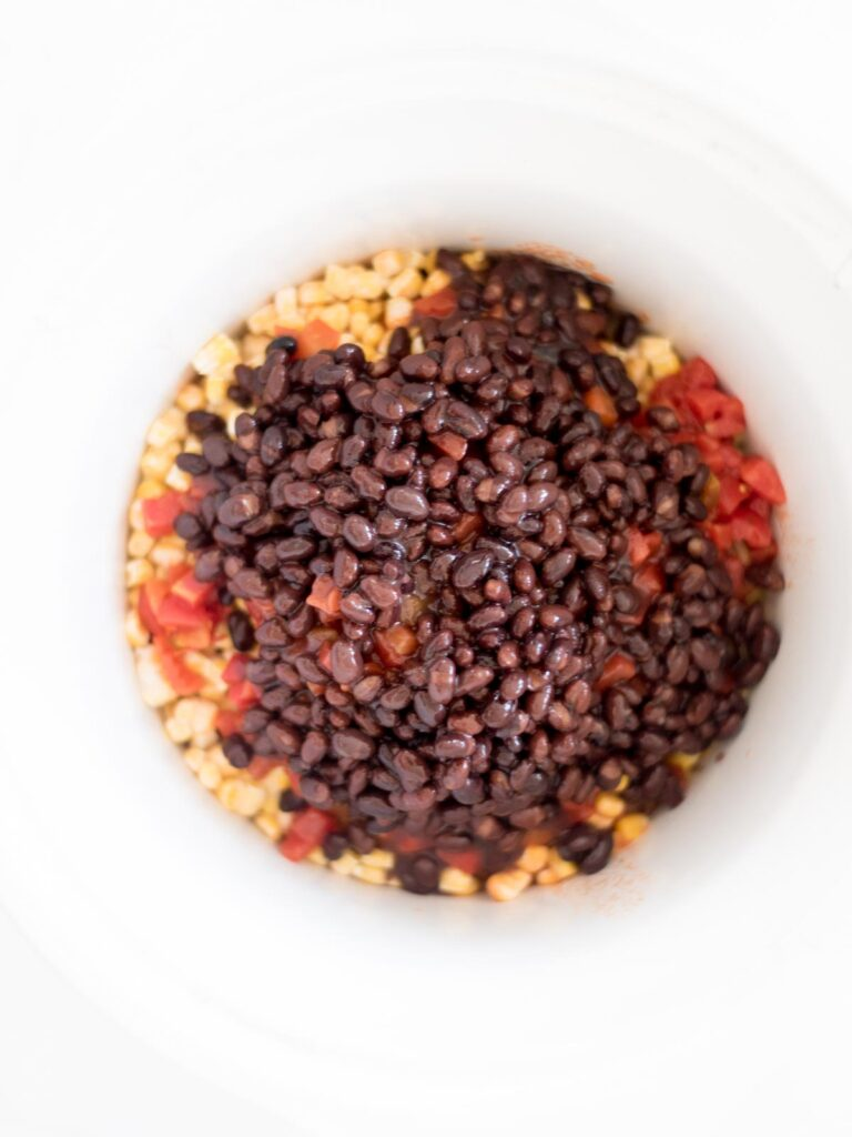 black beans added to the crockpot