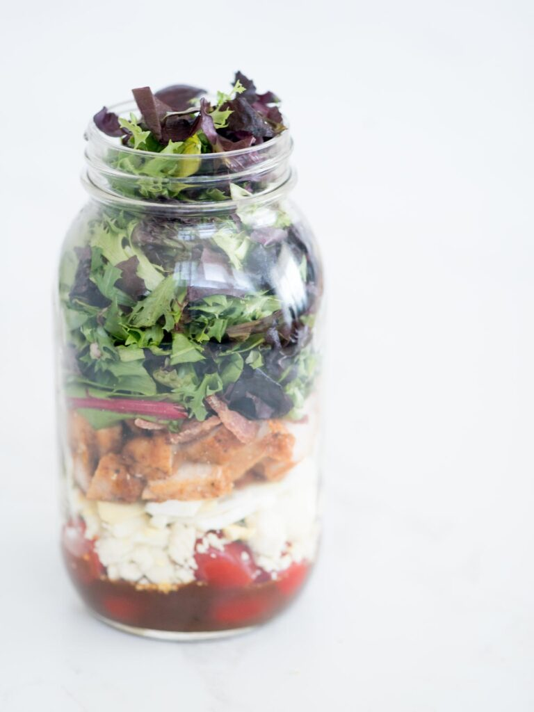 cobb style mason jar salad without the lid on