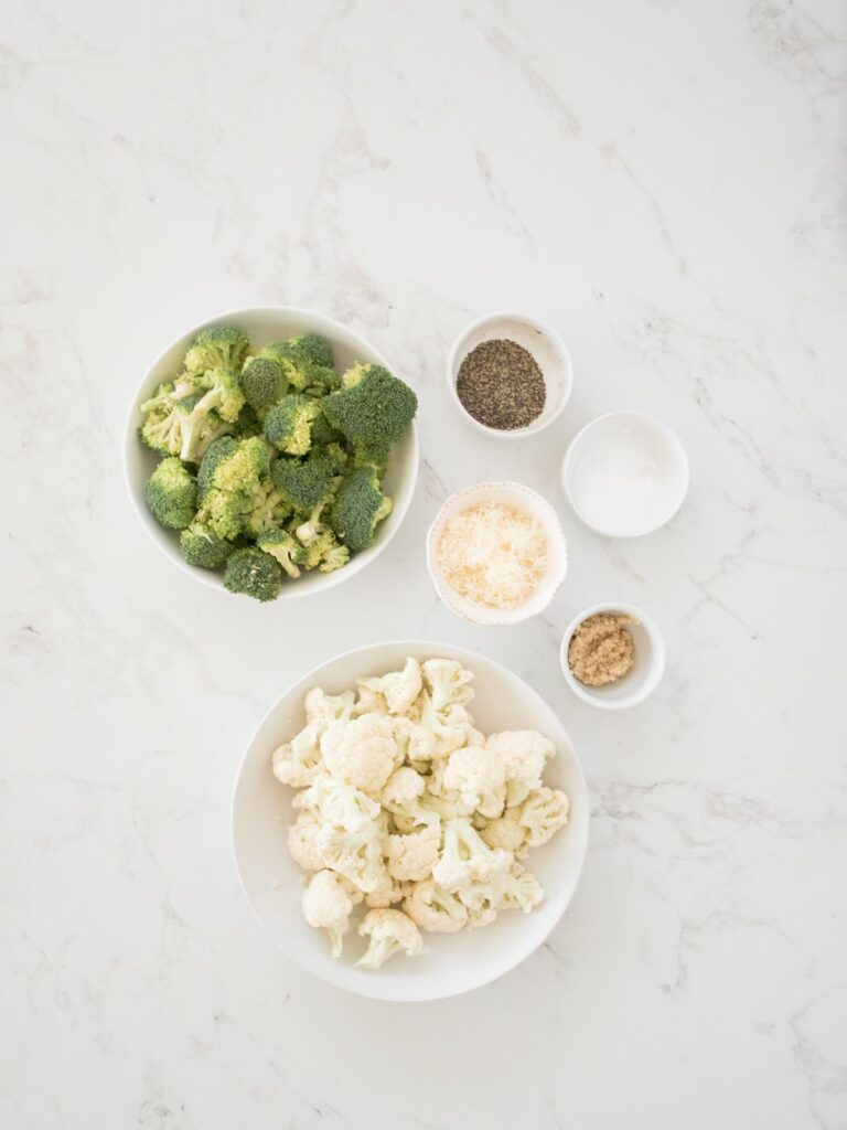 ingredients needed for garlic parmesan roasted broccoli and cauliflower