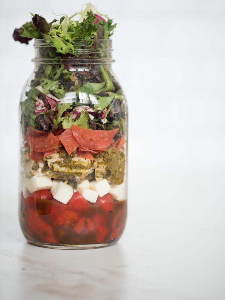 pesto chicken mason jar salad in a jar