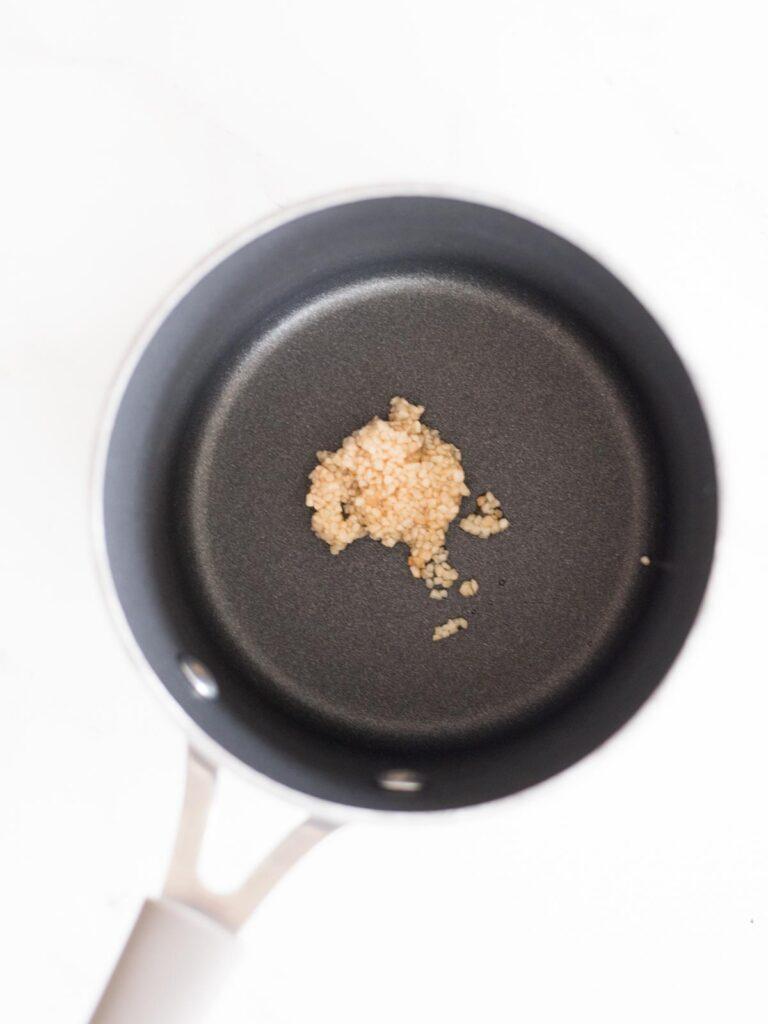 garlic in a saucepan