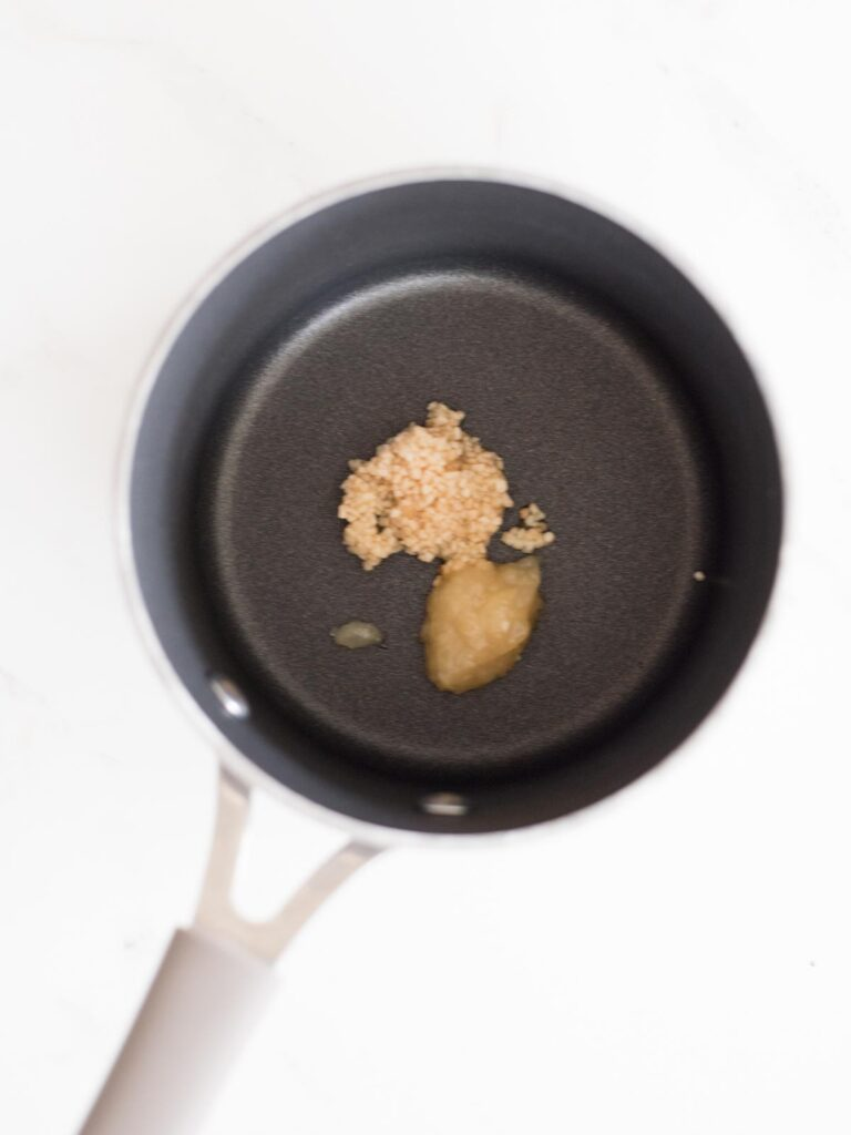 garlic and ginger in a saucepan