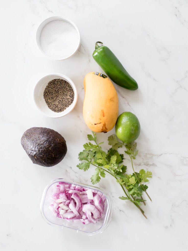ingredients for avocado mango salsa