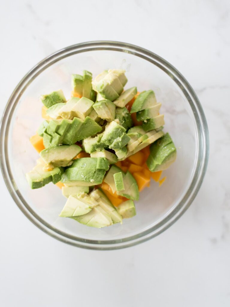 chopped avocado in a mixing bowl