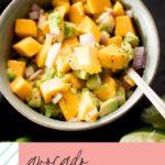 avocado mango salsa pinterest graphic with text