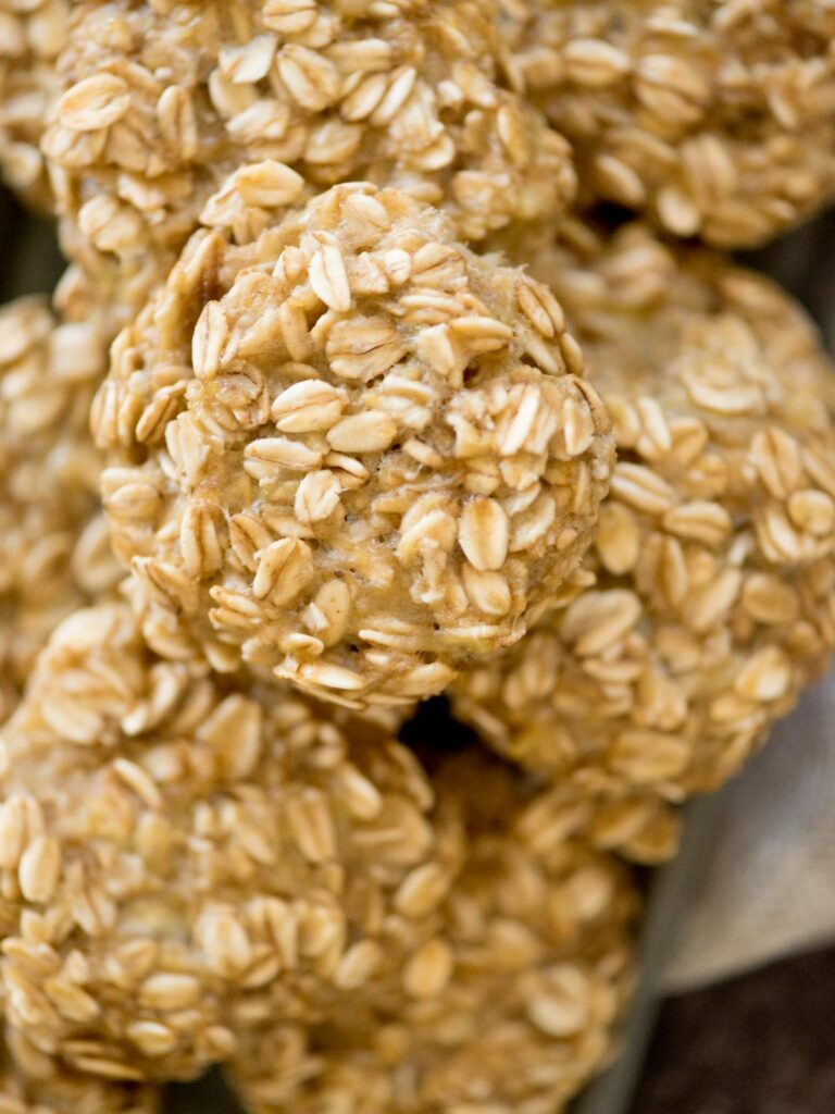 healthy banana oatmeal cookies stacked together