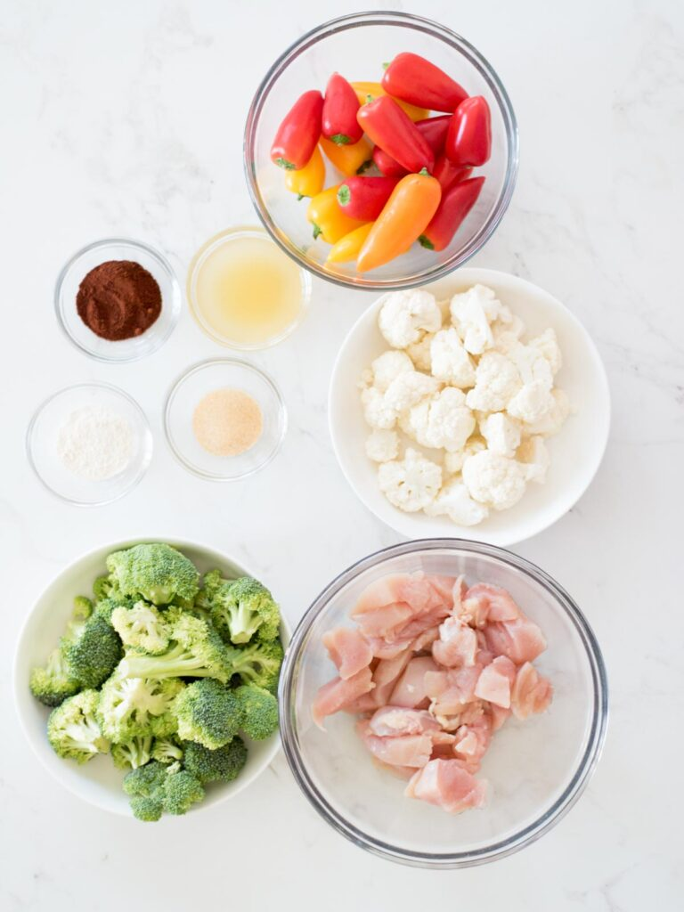 ingredients for healthy chipotle chicken and vegetables