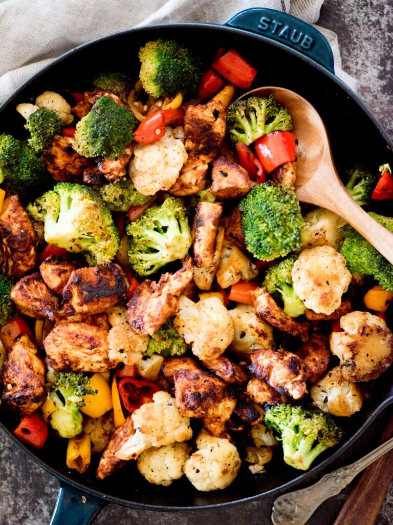 healthy chipotle chicken and vegetables in a skillet