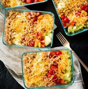 meal prep turkey taco bowls in a glass container