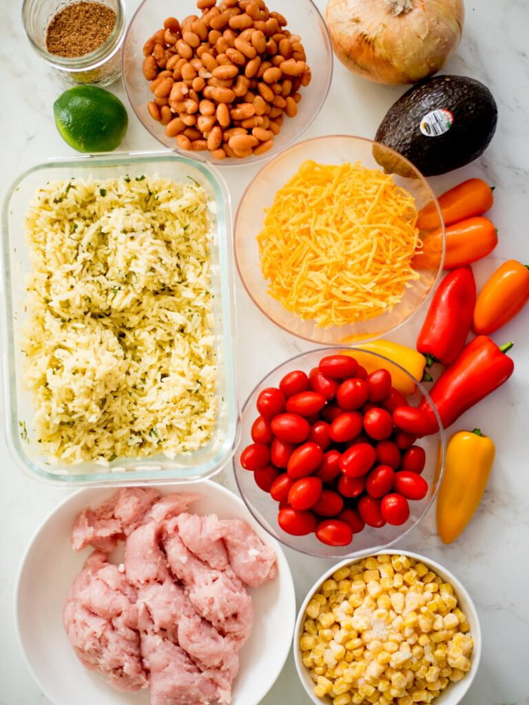 ingredients for turkey taco bowl meal prep