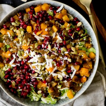 autumn salad with balsamic vinaigrette in a bowl