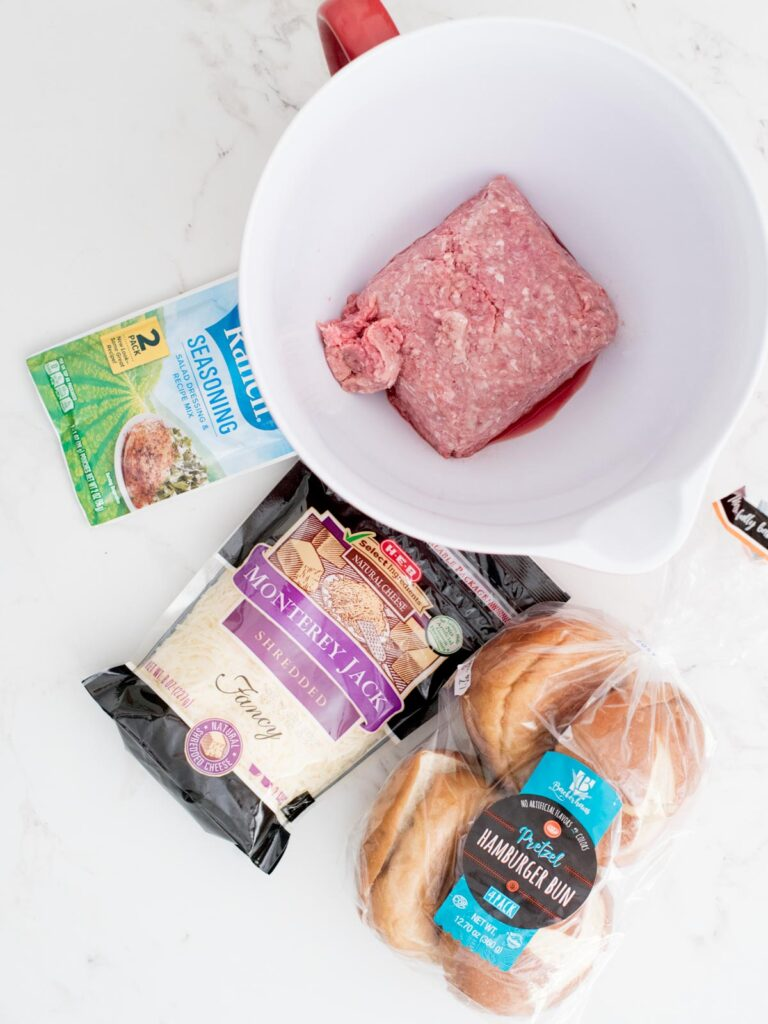 ingredients for cheesy ranch burgers