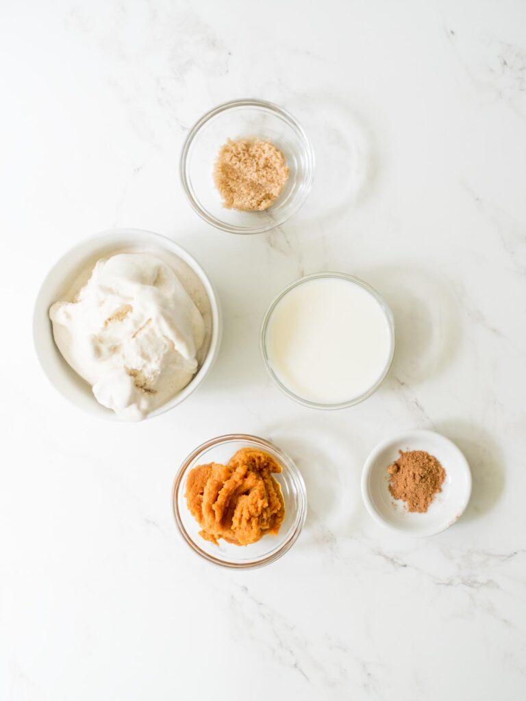 ingredients for pumpkin milkshake