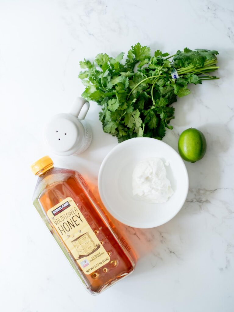ingredients for creamy cilantro lime sauce