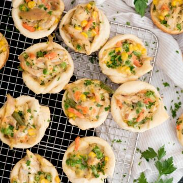 chicken pot pie bites on a cooling rack