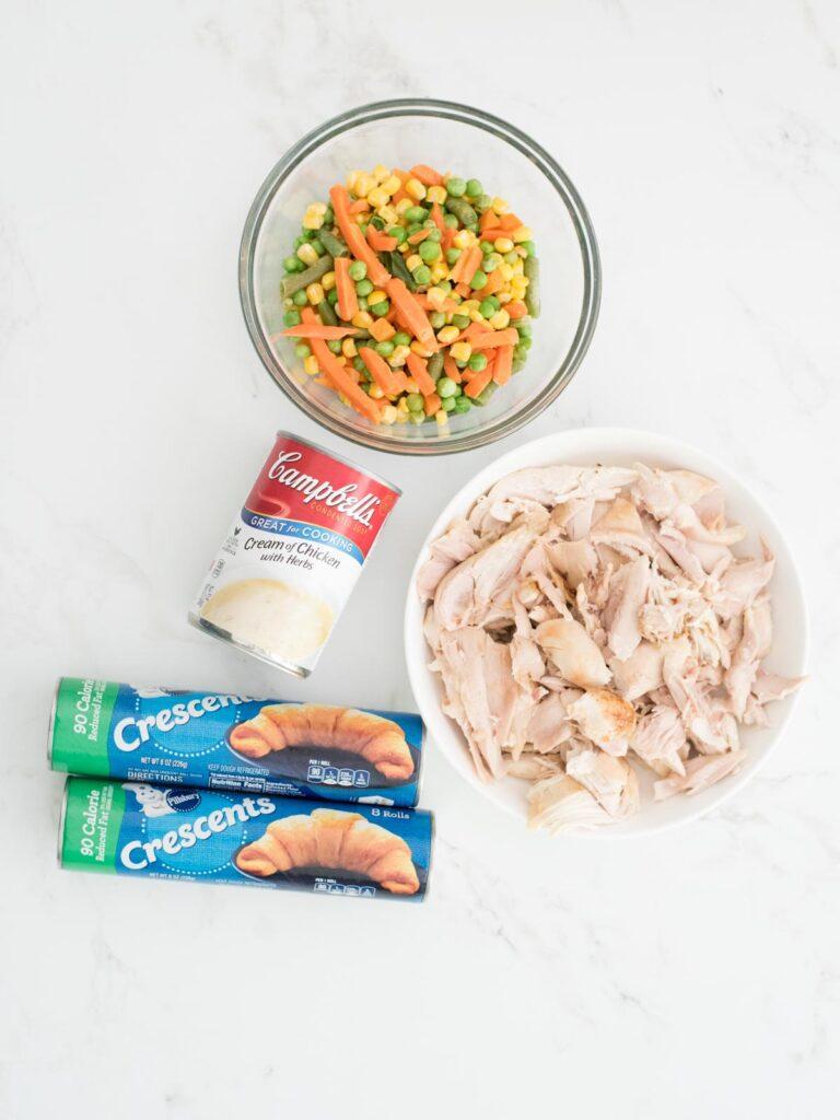 ingredients for chicken pot pie bites