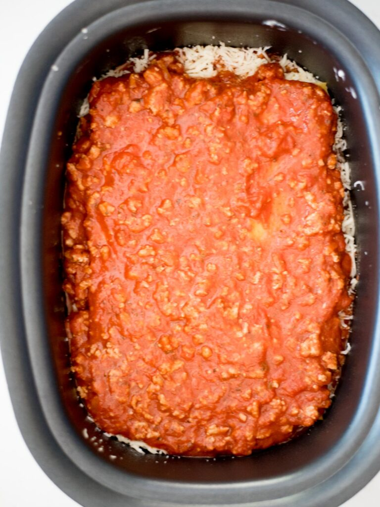 meat sauce over noodles in the crockpot