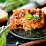 crockpot lasagna topped with fresh basil