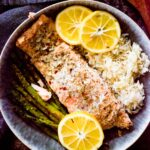 lemon butter salmon with rice and roasted asparagus