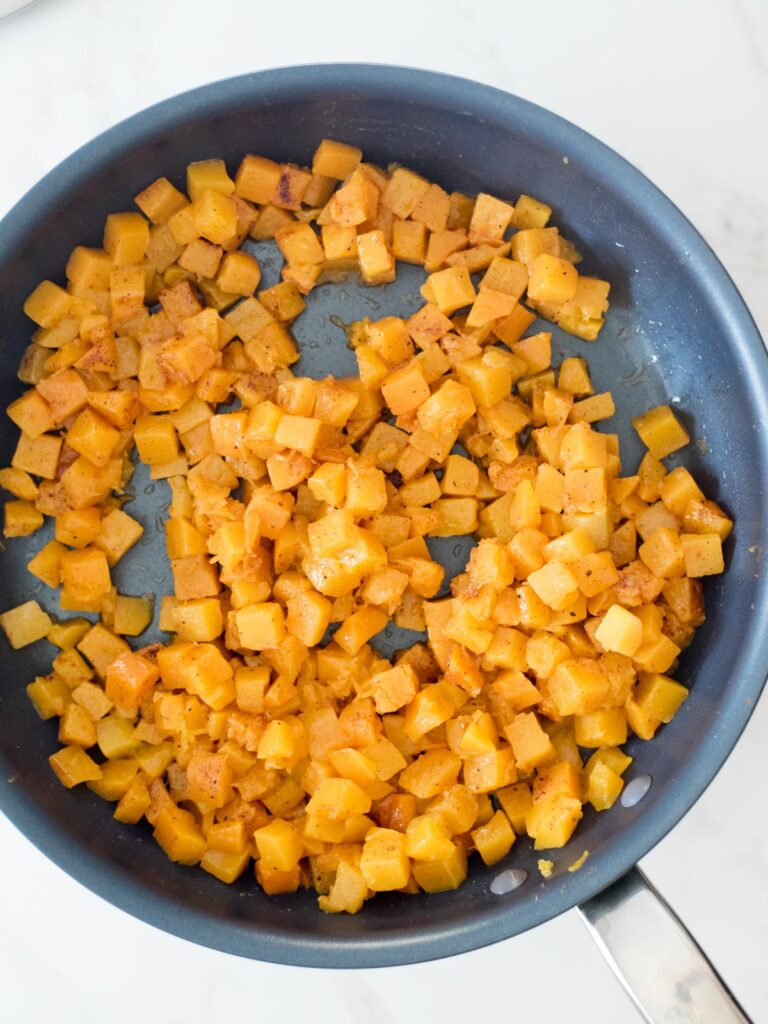 cinnamon and nutmeg mixed into butternut squash